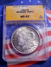 1921-P 1921 MORGAN SILVER DOLLAR $1 - ANACS VAM-1 MS 62 - GREAT EYE APPEAL!