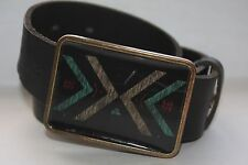"ELEMENT FOR LIFE PLAQUE BUCKLE GENUINE BROWN LEATHER SZ S-M  34"" MSRP $39.99"