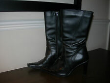 WOMEN'S BOOTS CALF LENGTH BLACK LEATHER POINTED TOE BOOTS EU SIZE 38 / UK 5