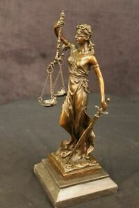 Lady Justice Bronze on 11 Cast Genuine Bronze Scales Of Justice Blind Lady Sale