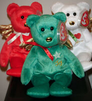 Ty Beanie Baby Set of 3 ~ GIFT the Green, Red & White Angel Bears ~ MWMT'S