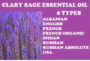Clary Sage Essential Oils & Absolute: 8 different types including Organic French