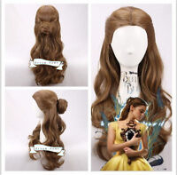 US SHIP! Movie Beauty and The Beast Princess Belle Cosplay Wig with Wig Cap Gift