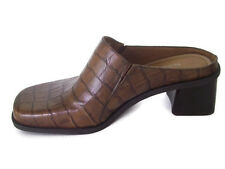 Naturalizer Womens Heels Brown Leather Croc Print Slip On Career Casual Size 7M