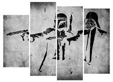 Star Wars Pulp Fiction Banksy Canvas Prints 4 Piece Graffiti Artwork Pictures