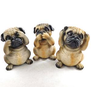 Three Wise Pugs See Hear Speak No Evil Figurine Pug Dog Statue Ornaments NEW IN