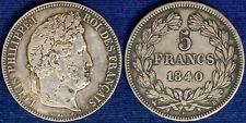 FRANCIA LUIGI FILIPPO I° 5 FRANCHI ARGENTO 1840 B #2427