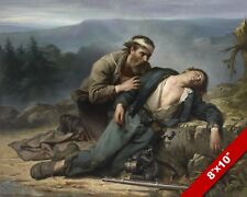 AMERICAN CIVIL WAR PAINTING NORTH SOUTH WOUNDED FALLEN SOLDIER CANVAS ART PRINT