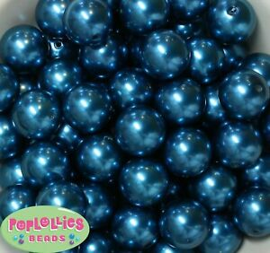 20mm Peacock Blue Acrylic Faux Pearl Bubblegum Gumball Chunky 20pc