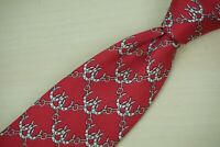 Hermes 936 IA Cherry Red Lucky Horseshoe Linked Silk Tie Made France