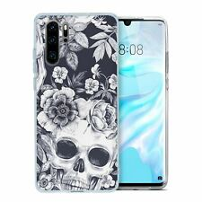 For Huawei P30 PRO Silicone Case Skull & Flowers Pattern - S491