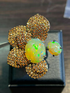 NATURAL FIRE OPAL 14X11,9X7 ORANGE SAPPHIRE DIAMOND CUT STERLING SILVER 925 RING
