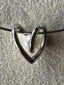 "Mikimoto Heart Pearl Pendant 18k White Gold Necklace 16"""