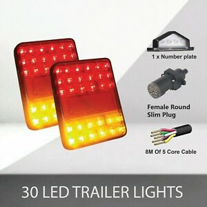 2 x30 LED TRAILER LIGHTS KIT,1 x Trailer Plug, 8M 5 CORE CABLE, 1x No. Plate 12V