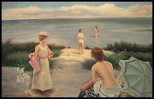 """* Femme Maillot de bain, 36""""x24"""" peinture à l'huile sur toile, peinte à la main"""