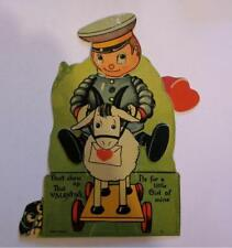 Vintage Valentine Mechanical Boy in Uniform on Pull Toy Goat with Hiding Puppy