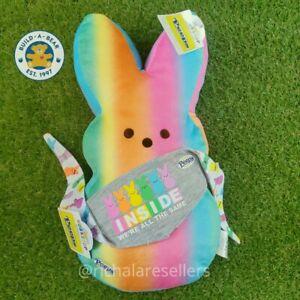 "New Build A Bear 16"" 🌈   RAINBOW PEEPS & Reversible Bandana Plush Easter Bunny"