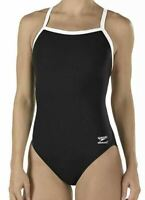 NWT Speedo Womens Contrast Performance One-Piece Swimsuit Black Size 12