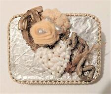 Handmade Felt Rose Cream Trinket Tin Box Jewelry Lined Container