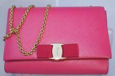 New Salvatore Ferragamo Miss Vara Bag Saffiano Clutch Pink Crossbody