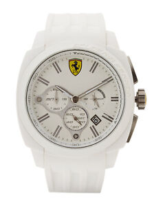 Scuderia Aerodinamico Chronograph White Dial White Silicone Men's Watch