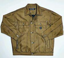 Pelle Pelle Marc Buchanan Denim Jean Jacket Vintage Shiny Yellow Hip Hop Rap Vtg