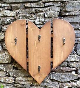 Handmade Rustic Small Heart Shaped Key Rack