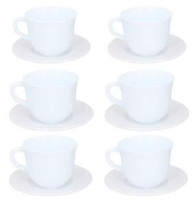 Set of 6 White Cup & Saucer Ceramic Tea Set Coffee Set Coffee Cups Tea 250ml