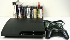 Sony Playstation 3 PS3 Slim 120GB 2 Controllers 17 Games Bundle CECH-2001A