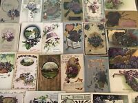 Lot of 25 Pretty *Purple~Violets Flowers~Vintage~Floral Greetings Postcards-a577