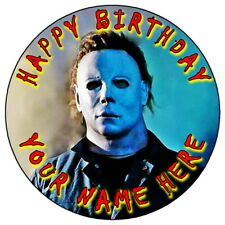 "MICHAEL MYERS HALLOWEEN - 7.5"" PERSONALISED ROUND EDIBLE ICING CAKE TOPPER (3)"