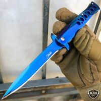 """9"""" Tactical Blue Stiletto Spring Assisted Open Folding Pocket Knife Blade NEW"""