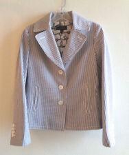 Talbots 2 Black white Harbor Seersucker Jacket Striped 100% Cotton