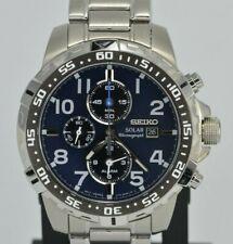 Seiko SSC305 Solar Chronograph Navy Blue Dial Silver Tone Men's Watch V172-0AT0