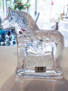 Lindshammar Glass Crystal Dalecarlia Carnival HORSE - Made in Sweden
