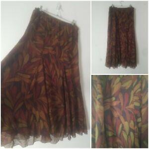 Vintage Boho Maroon Autumn Leaf Maxi Skirt Size 14/16 Gypsy Peasant Prairie Arty