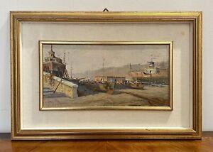 Patrisi Andrea (1954) dipinto ad olio su tavola barche sul molo