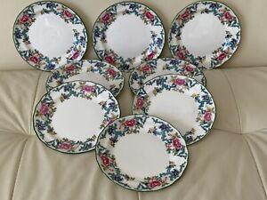 Vintage Royal Doulton Floradora Green Bread and Butter Plates Set of 8