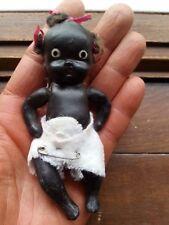 "Vintage c1930s Black Americana Baby Doll 4"" Japan Bisque Porcelain"