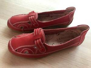 Riversoft Womens Shoes, Flat, Red Leather, Size 39