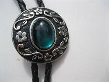 BOLO TIE #2379G - Round Shape with Green Stone