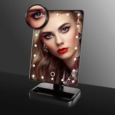 10X Magnifying cosmetic Tabletop TFCFL make up mirror with 22LED lights touch
