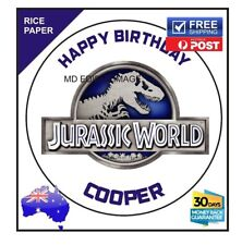 Jurassic world PERSONALISED Edible Rice Paper Image birthday party cake topper