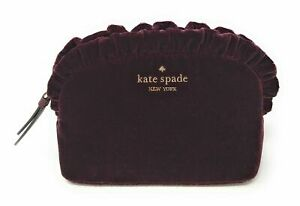 Kate Spade Briar Lane Quilted Velvet Cosmetic Makeup Bag Cherrywood WLRU5658