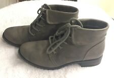 Women's Cliffs by White Mountain,Tango Grey Faux Leather Lace Up Boots Size 8
