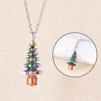 EG_ CN_ Christmas Tree Crystal Pendant Fashion Women Jewelry Gift Chain Necklace