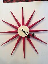 Starbust Sunburst Clock Red Mid Century Modern