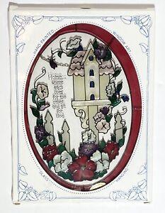"NEW STAINED GLASS OVAL SUNCATCHER - Joan Baker Designs - Birdhouse & Flowers -9"""