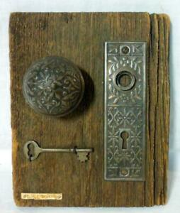 Antique Embossed RA Struck Doorknob Skeleton Key & Plate Escutcheon Barnwood
