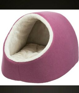Cuddly Pet Cave Dog Bed maroon beige for Cat Kitten or Small Dogs